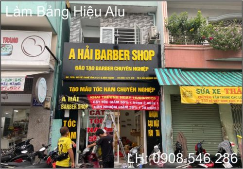 bảng hiệu alu barber shop